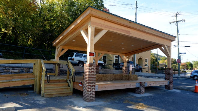 The new stage called Sunspots Pavilion resides in the small parking area across from Sunspots Studios in the Wharf area of downtown Staunton.