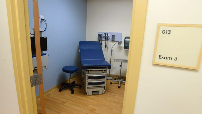 An exam room on the urgent care side of Augusta Health's Waynesboro Outpatient Center.