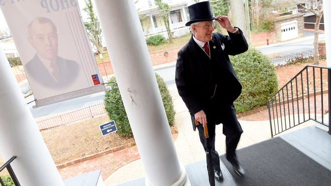 Judd Bankert, who portrays President Woodrow Wilson, arrives at the Smith Building, where he met with visitors at the Woodrow Wilson Presidential Library and Museum on Sunday, the 28th president's 158th birthday.
