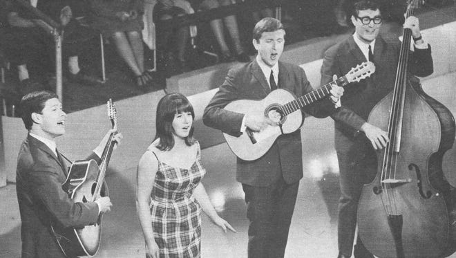 Seekers live TV appearance UK, 1965.  They had three No 1 hits by this stage. Judith was major star and still sewing her own dresses