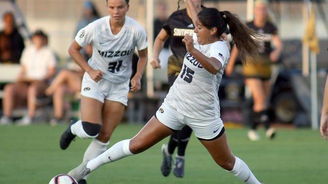 Missouri's Julissa Cisneros (15) controls the ball during a match against Southern Mississippi last season at Walton Stadium.