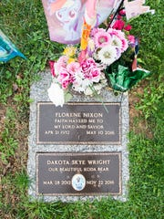 Dakota Wright's grave, located at Rest Haven in Penn Township, is adorned with flowers and her favorite My Little Pony character, Rainbow Dash.