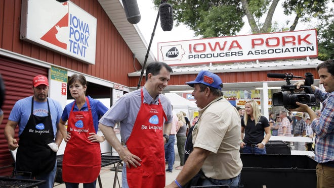 Wisconsin Gov. Scott Walker at the Iowa Pork Producers tent at the Iowa State Fair on Aug. 17, 2015.