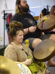 Desiree Rudder leads a community drum circle on Sunday, Feb. 15, at Sacred Space Spiritual Center in Salem.