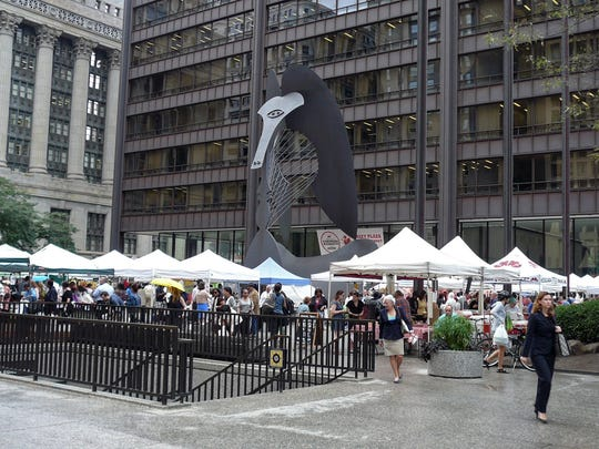 Farmers' market vendors fill Daley Plaza in Chicago from 7 a.m. to 3 p.m. Thursdays, mid May through October.