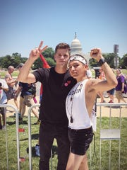 Charlie Carver attends the equality march in June in