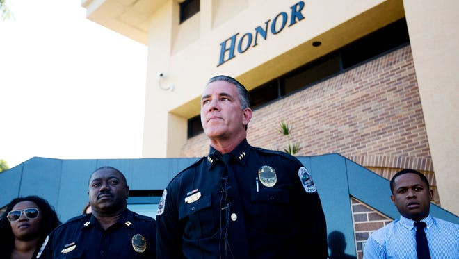 File photo: Fort Myers Police Chief, Doug Baker speaks at a press conference in front of the Fort Myers Police headquarters on Tuesday 10/28/2014.  He spoke about the arrests of Thomas Edison and Terrence Irons in murder of five year old, Andrew Faust.