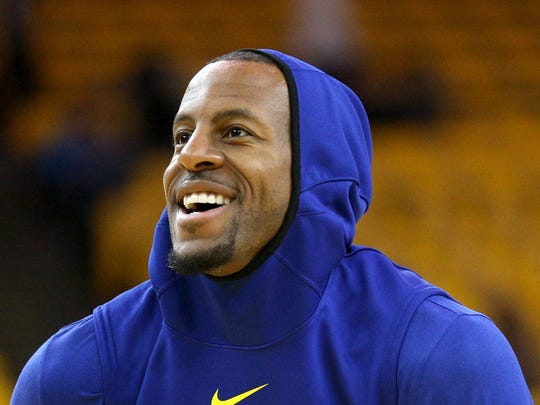 May 14, 2019; Oakland, CA, USA; Golden State Warriors guard Andre Iguodala (9) warms up before the start of the game against the Portland Trail Blazers in game one of the Western conference finals of the 2019 NBA Playoffs at Oracle Arena. Mandatory Credit: Cary Edmondson-USA TODAY Sports ORG XMIT: USATSI-403722 ORIG FILE ID:  20190514_ggw_se9_038.JPG