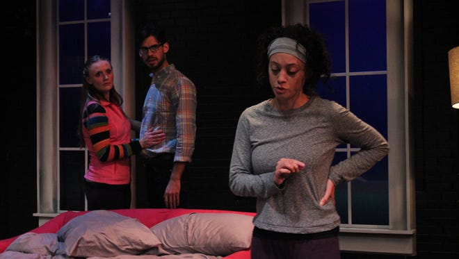 """From left, Angela Stettler, Brian Vaughn and Rachel Salowitz take sides in StageWest's """"Bad Jews"""" at the Des Moines Social Club."""