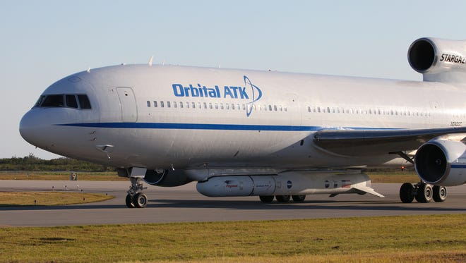 The Orbital ATK L-1011 Stargazer aircraft. Attached beneath is the Orbital ATK Pegasus XL rocket with NASA's Cyclone Global Navigation Satellite System (CYGNSS).