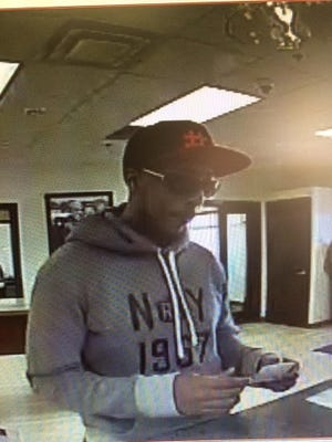 Security footage from Monday, April 16, 2016 shows a man police say robbed Meadows Bank on South McCarran Boulevard.