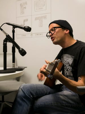 Mikey Erg performs for the Fan Theory podcast at the Neptune offices of the Asbury Park Press on May 23.