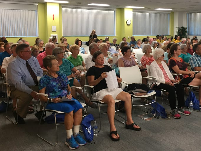 Attendees at a hurricane preparedness workshop on Monday,