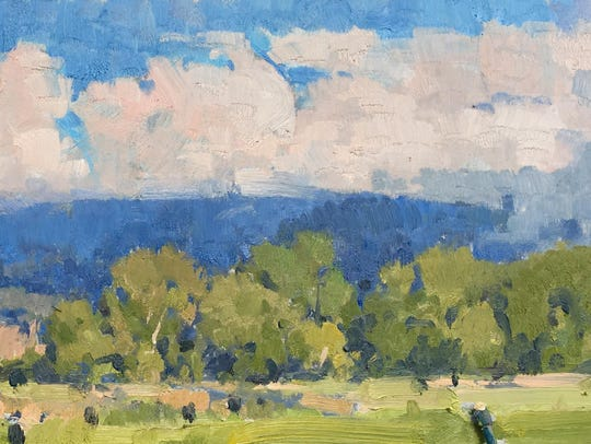 """Blue Afternoon"" is part of an exhibit of landscape"