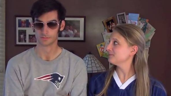 Leah Shattuck looks sideways at her husband, Steven, a diehard Patriots fan.