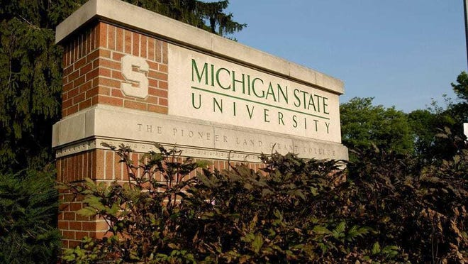 A sign at the Michigan State University campus in East Lansing.