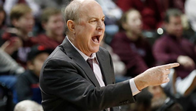 Mississippi State coach Ben Howland calls out to his players during the second half of an NCAA college basketball game against Arkansas in Starkville, Miss., Tuesday, Jan. 2, 2018. Mississippi State won 78-75. (AP Photo by Rogelio V. Solis)