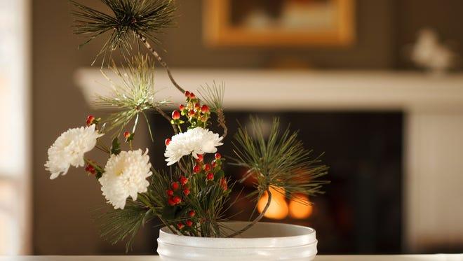 An ikebana arrangement conducive to meditation.