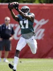 Eagles wide receiver Nelson Agholor catches a pass during practice at training camp Friday, in Philadelphia.