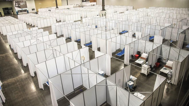 The coronavirus surge hospital at the Greater Columbus Convention Center has been disassembled and placed in storage for now.