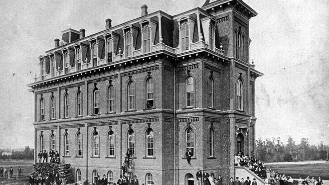 Deady Hall on its opening, Oct. 19, 1876.