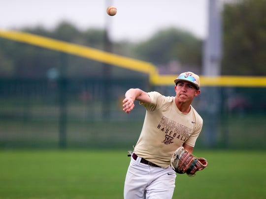 Tuloso-Midway baseball player Nick Arrellano works out during practice on Monday, April 9, 2018. Tuloso-Midway is leading District 30-5A North Zone in baseball with a 5-1 record after beating Calallen for the first time in nearly 20 years.