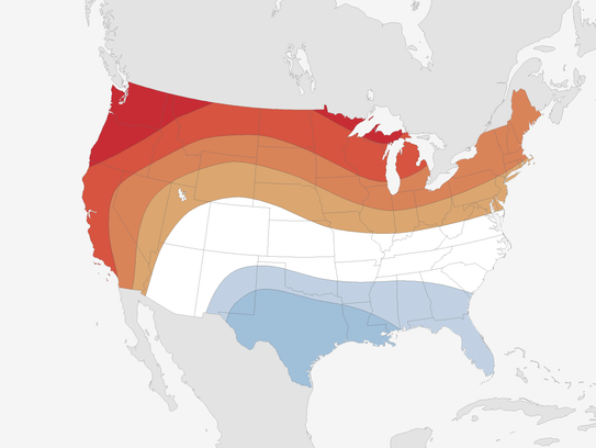 While much of the western and northern U.S. is expected