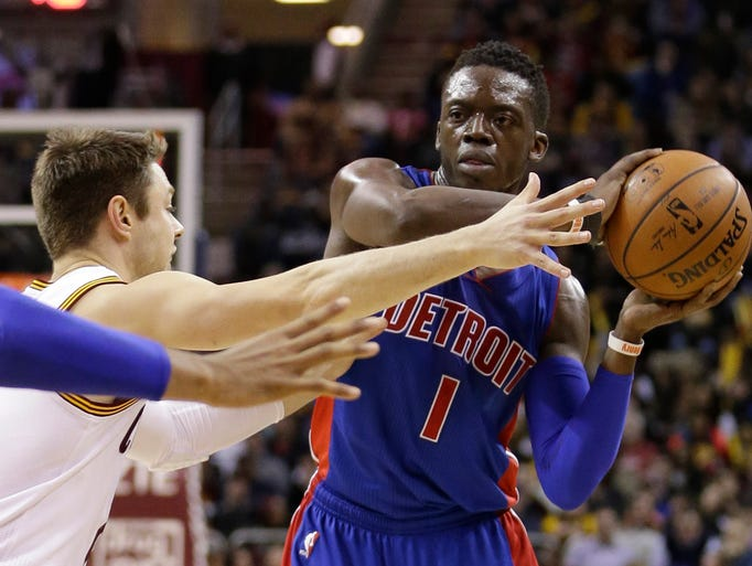 Detroit Pistons' Reggie Jackson (1), looks to pass