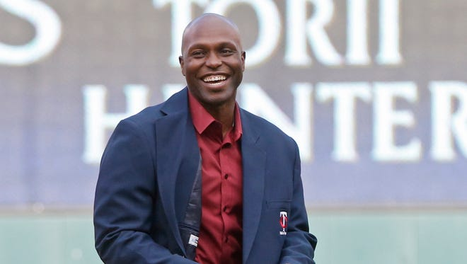 Former Minnesota Twins outfielder Torii Hunter gets inducted into the Twins Hall of Fame on July 16, 2016, in Minneapolis.