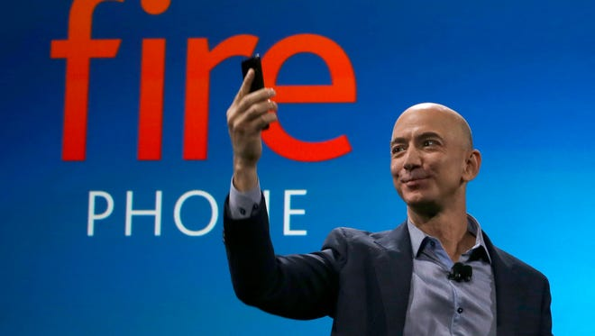 Amazon CEO Jeff Bezos introduces the new Amazon Fire Phone, Wednesday in Seattle.
