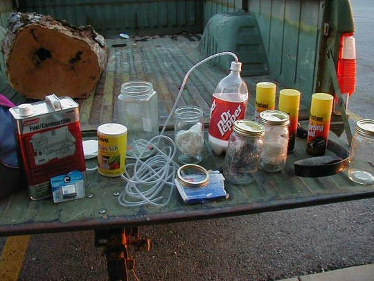Methamphetamine manufacturing materials confiscated in Christian County.