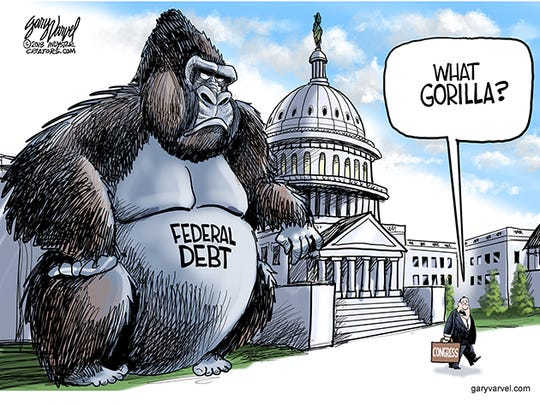 The national debt is $20.8 trillion and rising. President Trump said that he would cut spending but Congress doesn't appear to be to even notice the debt gorilla.