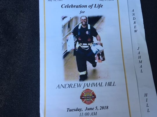"Program for Andrew Jahmal Hill's ""homecoming service''"