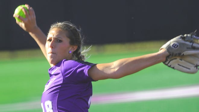 ACU pitcher Hannah Null throws a pitch in the fifth inning in Game 2 against No. 8 Baylor. Null, the Wildcats' third pitcher of the game, gave up a two-run home run to Wallace in the inning. Baylor (9-0) won the game 13-2 in five innings. Null went the distance in the opener, a 3-0 Baylor victory Sunday Feb. 25, 2018 at Poly Wells Field.