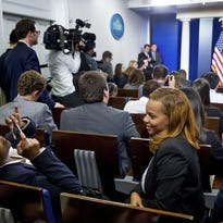 President Barack Obama speaks during a news conference with college students in the Brady Press Briefing Room in Washington, Thursday, April 28, 2016.