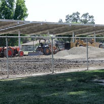 Central Valley Christian Elementary School's marketing/enrollment office undergoes construction before school starts on Aug. 17.