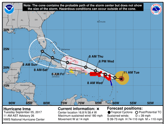 The forecast cone for Hurricane Irma as seen at 11
