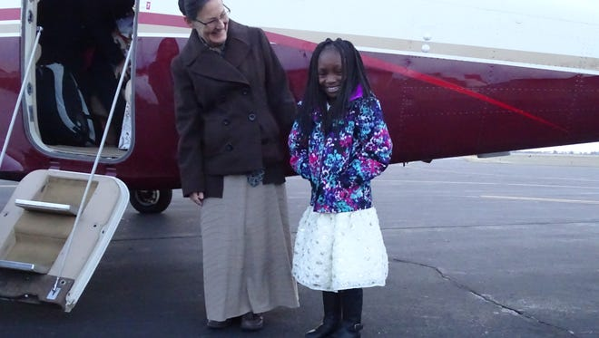 Seven-year-old Ainata took off Wednesday from the Marion Municipal Airport for her last appointment in a long time with an Iowa doctor to fix her clubfoot. The 7-year-old is from Burkina Faso and stayed with a Galion family while receiving medical treatment for the condition for nine months.