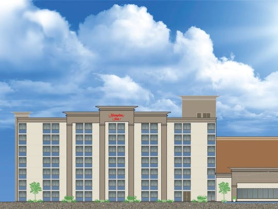 This is an artist's rendering of the Hampton Inn planned