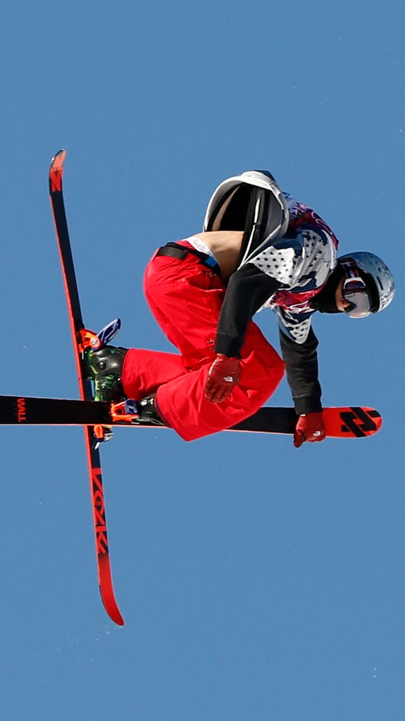Nicholas Goepper (USA) competes in the men's ski slopestyle final during the Sochi 2014 Olympic Winter Games at Rosa Khutor Extreme Park.