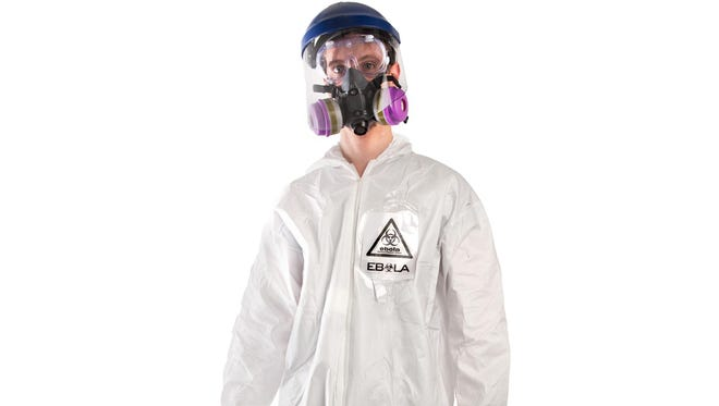A product image released by Brands On Sale, Inc., shows a hazmat costume with a respirator.