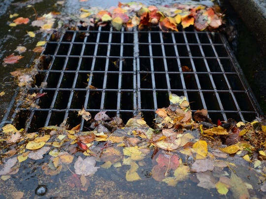 Leaves begin to pile up around a grate in south Salem as the rain falls on Wednesday, Oct. 22, 2014.
