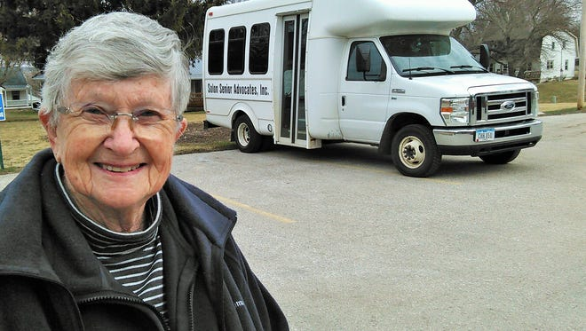 Sandy Hanson's considerable energy these days is directed toward finding $3,000 to repair the air conditioning unit in this minibus, owned and operated by the Solon Senior Advocates organization.