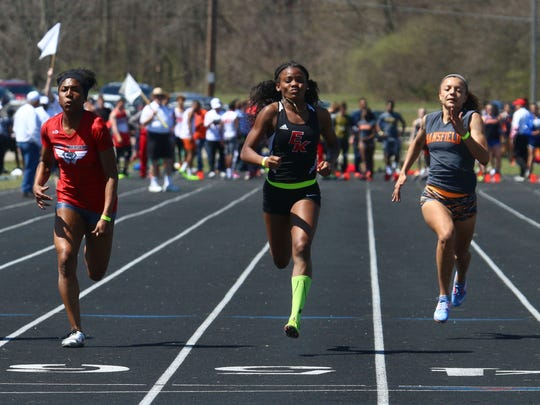 East Kentwood's Sekayi Bracey wins the 100 meter dash, one of four gold medals for the Purdue-bound star from Michigan in Saturday's 84th Mehock Relays.