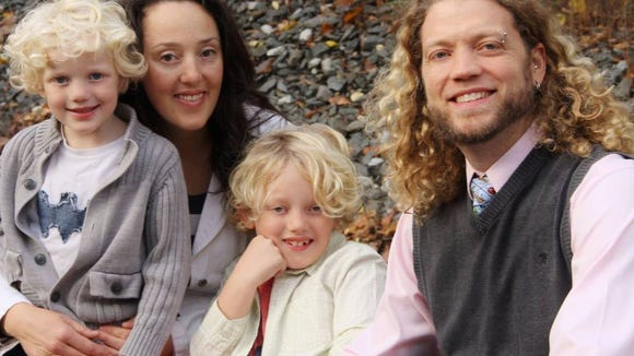 The Van Osten family includes (from left) Liam; Tina;