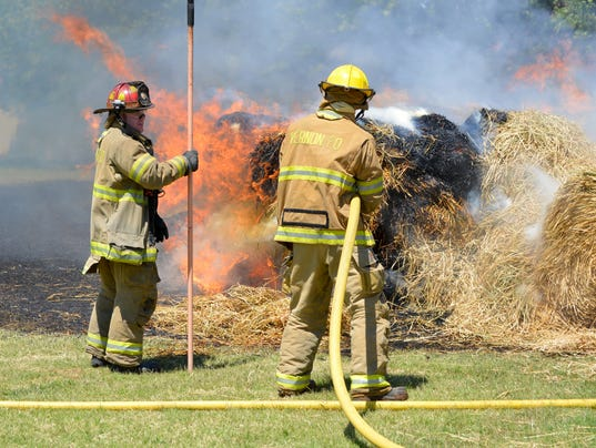 Hay bale fire in Vernon