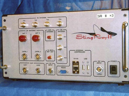 FILE - This undated file photo provided by the U.S. Patent and Trademark Office shows the StingRay II, a cellular site simulator used for surveillance purposes manufactured by Harris Corporation, of Melbourne, Fla. Police departments across the country use military-developed technology that can track down suspects by using the signals emitted by their cellphones. Civil liberties groups are increasingly raising objections to the suitcase-sized devices known as StingRays that can sweep up cellphone data from an entire neighborhood. (U.S. Patent and Trademark Office via AP, File)