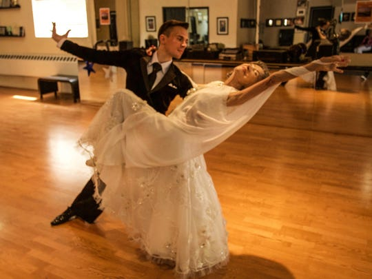 Tao Porchon-Lynch with her ballroom dance teacher and partner Anton Bilozorov.