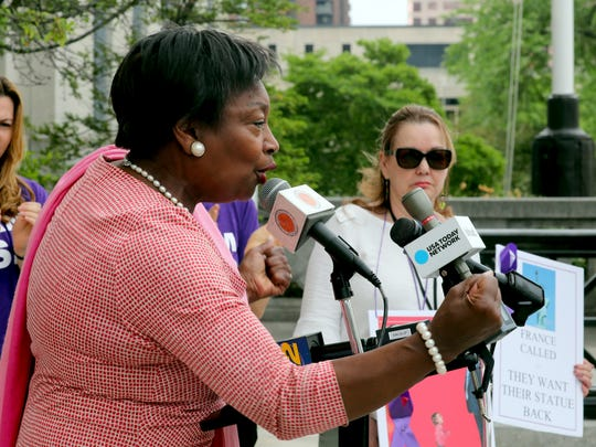 State Senator Andrea Stewart-Cousins  spoke during