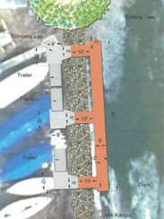 A diagram of the dock to be installed at the Fond du